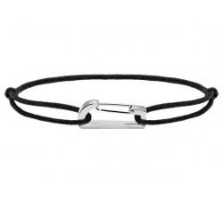Bracelet KIM 18mm Acier Cordon Coton 1mm Noir ROCHET B186001