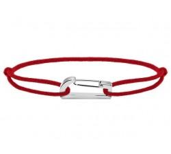 Bracelet KIM 18mm Acier Cordon Coton 1mm Rouge ROCHET B186005