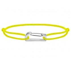 Bracelet KIM 18mm Acier Cordon Coton 1mm Jaune fluo ROCHET B186049