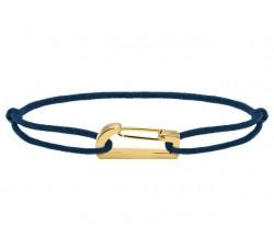Bracelet KIM 18mm Acier PVD jaune Cordon Coton 1mm Marine ROCHET B186706