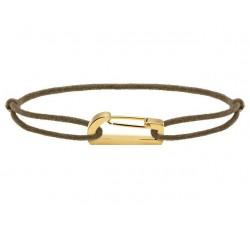 Bracelet KIM 18mm Acier PVD jaune Cordon Coton 1mm Taupe ROCHET B186740