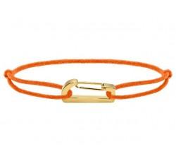 Bracelet KIM 18mm Acier PVD jaune Cordon Coton 1mm Orange fluo ROCHET B186759
