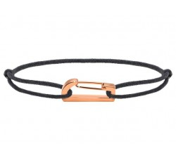 Bracelet KIM 18mm Acier PVD rose Cordon Coton 1mm Gris ROCHET B186900