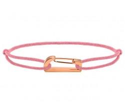 Bracelet KIM 18mm Acier PVD rose Cordon Coton 1mm Rose poudré ROCHET B186930