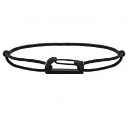 Bracelet KIM 18mm Acier PVD noir Cordon Coton 1mm Noir ROCHET B188101