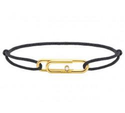Bracelet TAL Acier PVD jaune avec oxyde Cordon Coton 1mm Gris ROCHET B196700