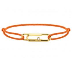Bracelet TAL Acier PVD jaune avec oxyde Cordon Coton 1mm Orange fluo ROCHET B196759