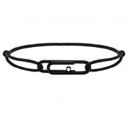 Bracelet TAL Acier PVD noir avec oxyde Cordon Coton 1mm Noir ROCHET B198101