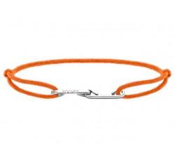 Bracelet LOVE 33mm Acier avec lien Cordon 1mm Orange fluo ROCHET B216059