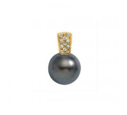 Pendentif or jaune 750/1000, perle de Tahiti et diamants by Stauffer