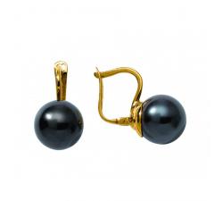 Boucles d'oreilles dormeuses or jaune 750/1000 et perles de Tahiti by Stauffer
