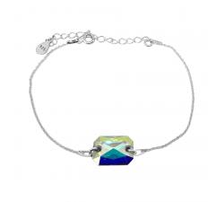 Bracelet argent 925/1000 et Swarovski elements Indicolite BR-JADE-001AB