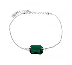 Bracelet argent 925/1000 et Swarovski elements Indicolite BR-JADE-205