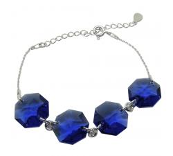 Bracelet argent 925/1000 et Swarovski elements Indicolite BR-JESS-288