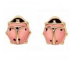 Boucles d'oreilles coccinelles, or jaune 375/1000 et laque by Stauffer