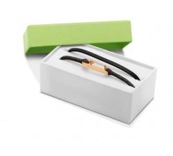 Coffret Bracelet KIM PVD Rose+Oxyde/PU Pailleté Noir 3mm ROCHET CBO25690401M