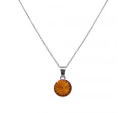 Collier argent 925/1000 et Swarovski elements Indicolite CO-LEA-259