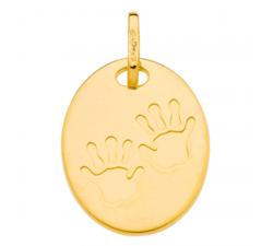 Pendentif empreintes petites mains or jaune 375/1000 by Stauffer