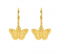 "Boucles d'oreilles ""brisures"" papillons or jaune 375/1000 by Stauffer"