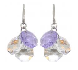 Boucles d'oreilles argent 925/1000 et Swarovski elements Indicolite DO-PRISCA-371
