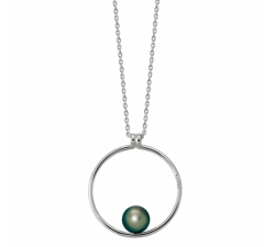 Collier epure argent 925/1000 et perle de Tahiti et diamants IZA B FEZ18N016HP