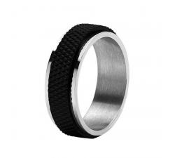 Bague DRIVER acier bicolore PVD noir, 8 mm ROCHET HA14820164