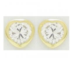 Boucles d'oreilles or jaune 375/1000, coeurs et oxydes de zirconium by Stauffer
