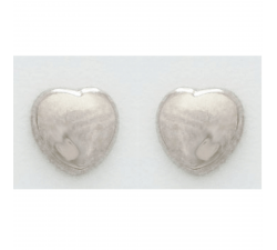 Boucles d'oreilles or gris 375/1000, coeurs by Stauffer