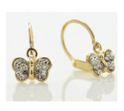 Boucles d'oreilles dormeuses or jaune 375/1000, papillons et cristaux by Stauffer