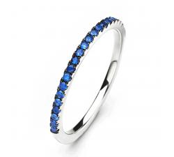 Alliance or gris 750/1000 et saphirs bleus by Stauffer
