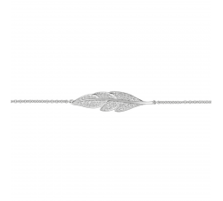 Bracelet argent 925/1000, motif plume et oxydes de irconium by Stauffer