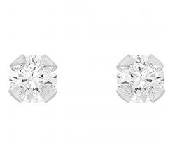 Boucles d'oreilles argent 925/1000 et oxydes de zirconium de 2,5 mm by Stauffer