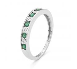 Alliance or gris 750/1000, émeraudes et diamants by Stauffer