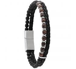 Bracelet Hekla acier, cuir, agate et oeil de tigre JOURDAN RC 034 H