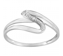 Bague or gris 750/1000 et diamant 0,005 carat by Stauffer
