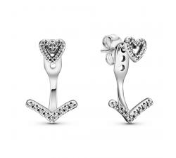 Boucles d'oreilles scintillantes Wishbone Heart en Argent 925/1000ᵉ Pandora 299280C01
