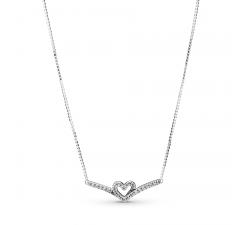 Collier coeur scintillant Wishbone en argent 925/1000 PANDORA 399273C01-45