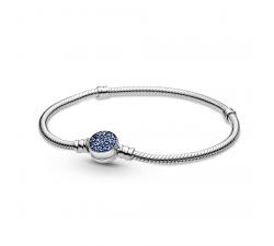 Bracelet chaîne serpent bleu scintillant avec fermoir disque Pandora Moments en argent 925/1000 599288C01