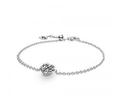 Bracelet chaîne arbre généalogique cœur Pandora en argent 925/1000 599292C01