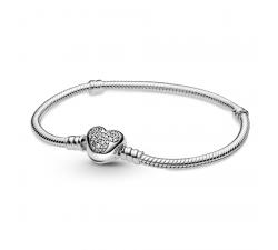 Bracelet Disney Mickey Mouse avec fermoir cœur et chaîne serpent Pandora Moments en argent 925/1000 599299C01