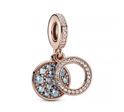 Charm Pendant Double Disque Bleu clair Scintillant Pandora rose 789186C03
