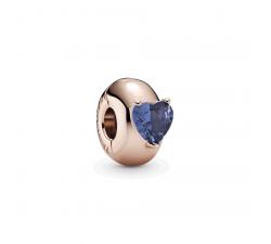 Charm Clip Solitaire Coeur Bleu Pandora rose 789203C02
