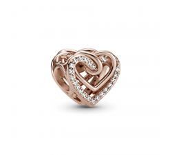 Charm de coeurs entrelacés scintillants Pandora rose 789270C01