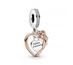 Charm Pendentif Coeur et Fleur Rose en argent 925/1000 et Pandora rose 789290C01