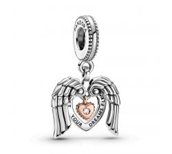 Pandora Club 2021 Charm pendentif ailes d'ange et cœur en argent 925/1000 et Pandora rose 789296C01