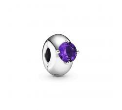 Charm Clip Solitaire Rond Violet en Argent 925/1000 PANDORA 799204C02