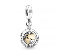 Charm pendentif Monde tournoyant en Argent 925/1000 et or 585/1000 PANDORA 799303C01