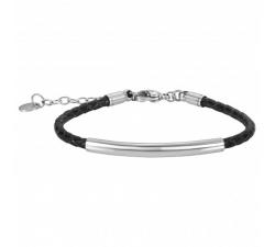 Bracelet acier et cuir tressé noir by Stauffer