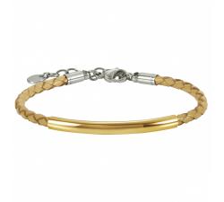 Bracelet acier et cuir tressé camel by Stauffer