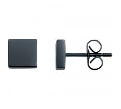 Boucles d'oreilles acier PVD noir by Stauffer